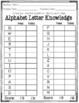 No Prep Kindergarten Reading Readiness Assessment Data Sheets