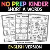 No Prep Kindergarten Short A Word Work - Distance Learning