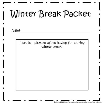 Kindergarten Winter Break Packet--No Prep! (Common Core Aligned)