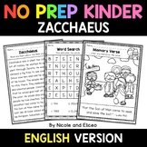 No Prep Kindergarten Zacchaeus Bible Lesson - Distance Learning