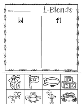 No-Prep: L-Blends Picture Sorting Activity Sheets (L Blends)