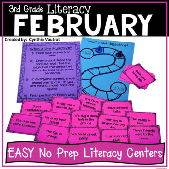 NO PREP! LITERACY Centers for February (3rd Grade)