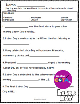 No Prep Labor Day Theme Differentiated Activities