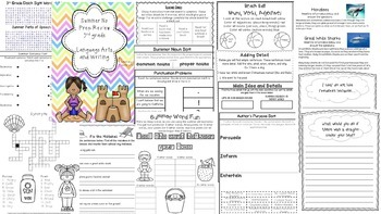 No Prep Language Arts and Math Summer Packet- 3rd Grade--BUNDLE