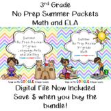 No Prep Language Arts and Math Summer Packet- 3rd Grade--BUNDLE