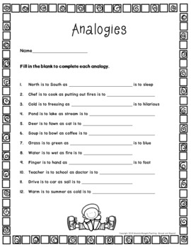 No-Prep - Learning About Analogies