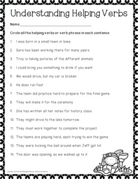 No-Prep - Learning Helping Verbs