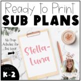 Stellaluna - No Prep Sub Plans