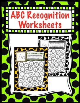 No Prep Letter Recognition Worksheet  (by Priscilla Beth @Daycare Support)