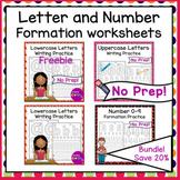 No Prep Distance Learning Worksheets Letter and Number Formation Bundle