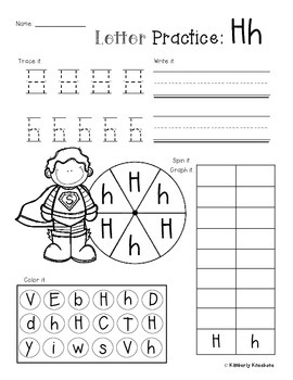 No Prep Letter/Alphabet Practice (Trace it. Write it. Spin/Graph it. Color it.)
