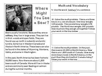No-Prep Literacy, Math and Grizzly Bear Study Packet Bundle
