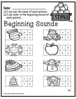 Kindergarten - Winter Literacy and Math Activities (NO PREP)