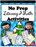 Kindergarten - Winter Literacy and Math Activities (NO PREP)