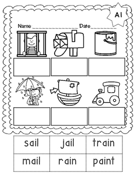 No Prep Long A Vowel Team AI Hands on Cut and Paste and Other Activities