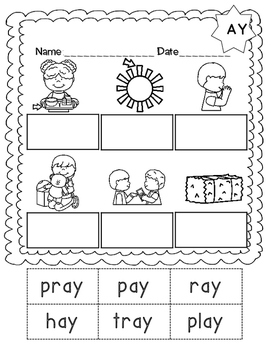 No Prep Long A Vowel Team AY Hands on Cut and Paste and Other Activities