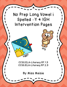 No Prep Long I Spelled Y and IGH Intervention Pages