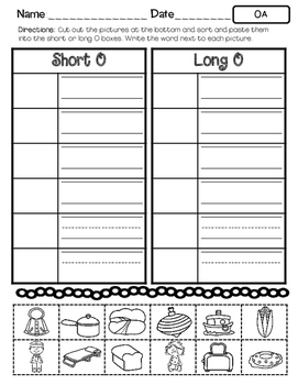 No Prep Long O Vowel Team OA Hands on Cut and Paste and Other Activities