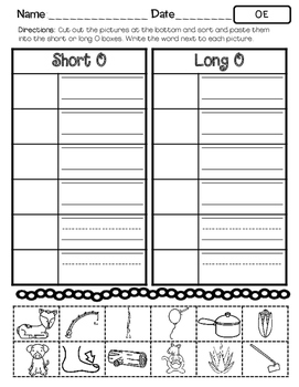 No Prep Long O Vowel Team OE Hands on Cut and Paste and Other Activities