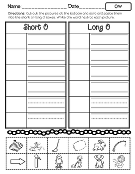 No Prep Long O Vowel Team OW Hands on Cut and Paste and Other Activities
