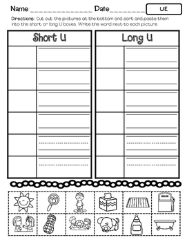 No Prep Long U Vowel Team UE Hands on Cut and Paste and Other Activities