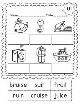 No Prep Long U Vowel Team UI Hands on Cut and Paste and Other Activities