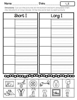 No Prep Long Vowel I CVCe, I_E Hands on Cut and Paste and Other Activities