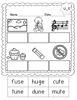 No Prep Long Vowel U CVCe, U_E Hands on Cut and Paste and Other Activities