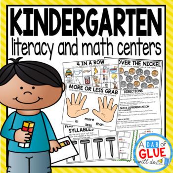 No Prep Math and No Prep Literacy Centers for Kindergarten Standards Bundle