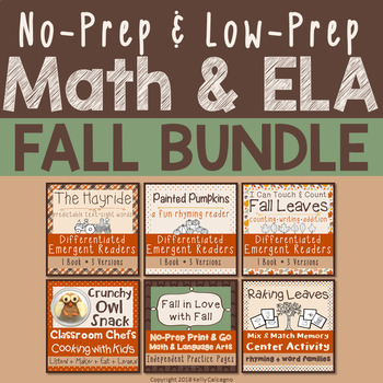 No-Prep & Low-Prep Math & ELA Bundle - Fall in Love with Fall