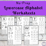 No-Prep Lowercase Alphabet Worksheets