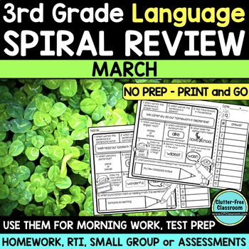 3RD GRADE Homework Morning Work for LANGUAGE & GRAMMAR - MARCH NO PREP