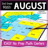 2nd Grade Math Centers for August No Prep