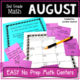 3rd Grade MATH Centers for August No Prep (Back to School)