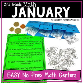 2nd Grade Math Centers for January No Prep