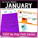 Math Centers for 3rd Grade January No Prep