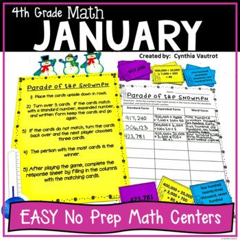 NO PREP! MATH Centers for January {4th Grade}
