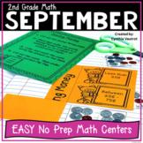 2nd Grade MATH Centers for September No Prep