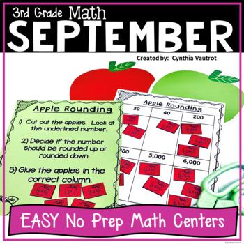 No Prep! MATH Centers for September {3rd Grade}