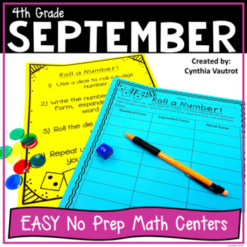 4th Grade MATH Centers for September No Prep
