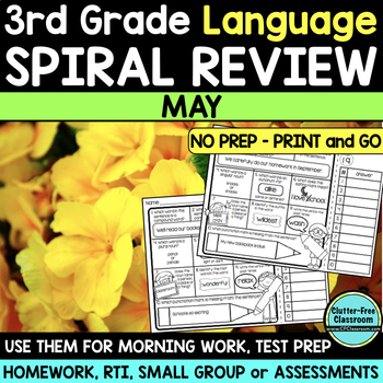 3RD GRADE Homework Morning Work for LANGUAGE & GRAMMAR - MAY NO PREP