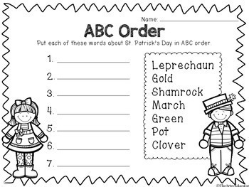 No Prep St. Patrick's Day -- March [Math, Literacy, & Fun Pages!]