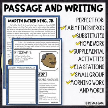 No Prep Martin Luther King, Junior Information Packet with Vocabulary