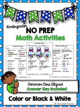 No Prep Math Activities for Kindergarten