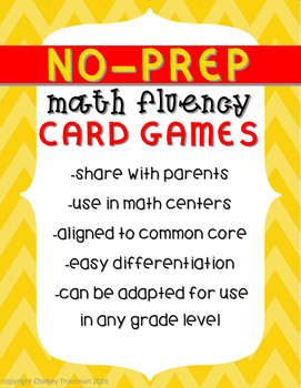 No-Prep Math Fluency Card Games FREEBIE