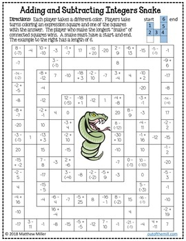 No Prep Math Game: Integer Addition and Subtraction Snake (7.NS.1)