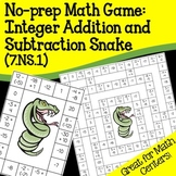 No Prep Math Game: Integer Addition and Subtraction Snake