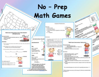 No Prep Math Games - Skill Review (3rd - 4th)