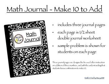 No-Prep Math Journal - Make 10 to Add