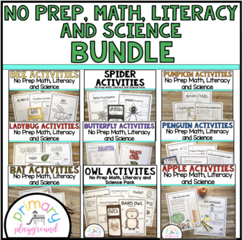 No Prep Math, Literacy and Science Packet Growing Bundle